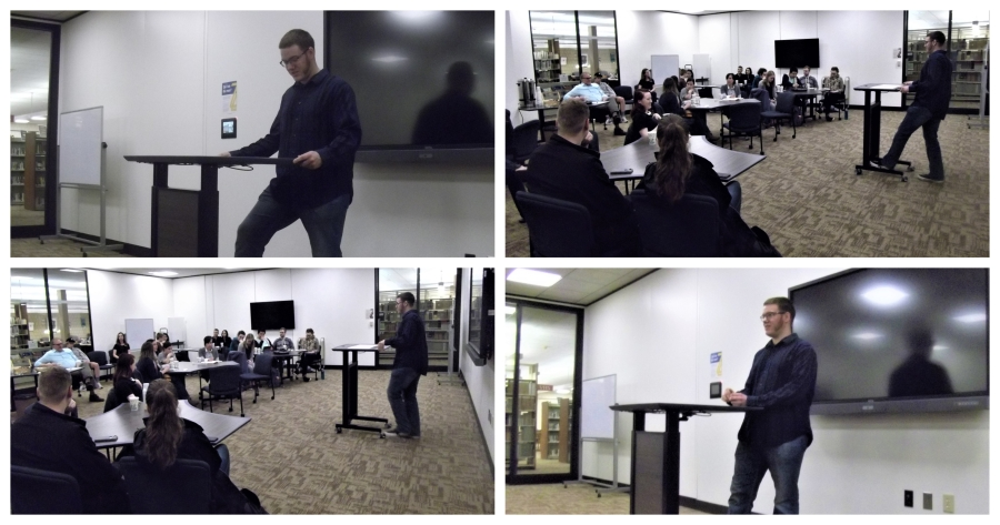 Collage of four photos taken during a presentation at Taylor University about CS Lewis and JRR Tolkien. Images copyright 2019 by Gabriel Connor Salter